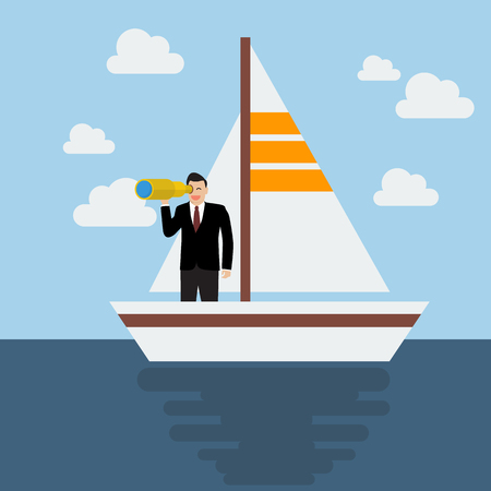 future business: Business man sailing and looking for future. Business concept