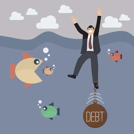 because: Businessman get drowned because debt weight. Business concept