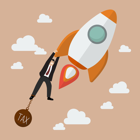 burden: Businessman try hard to hold on a rocket with tax burden. Project start up new business.
