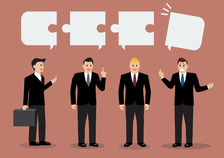 differently: One of the businessmen is talking differently than others. Business concept