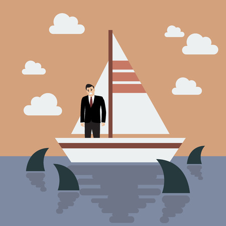business risk: Businessman on small boat with shark in the sea. Business risk concept Illustration