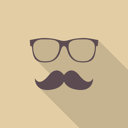 shadow man: Mustache and Glasses. Hipster symbol. Flat style with long shadow Illustration