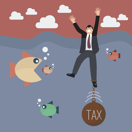 Businessman get drowned because tax weight. Business concept