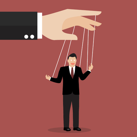manipulate: Businessman puppet on ropes. Business manipulate behind the scene concept