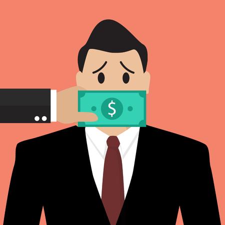 달러 지폐와 사업가 입에 테이프. 뇌물 개념 일러스트