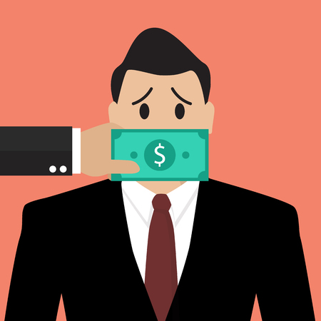 Businessman with dollar banknote taped to mouth. Bribery concept 向量圖像