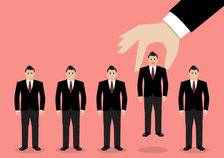 Hand choosing worker from group of businessmen. Recruitment concept
