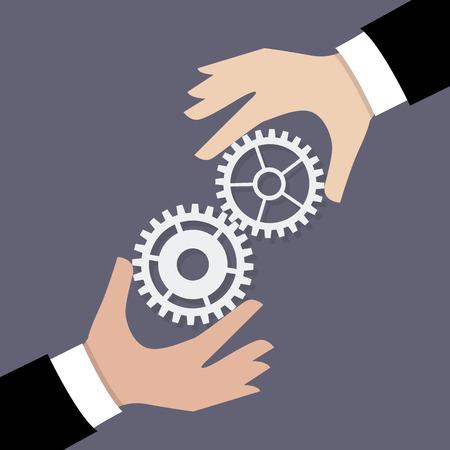 trabajo en equipo: Hombre de negocios dos manos con los engranajes. Concepto de trabajo en equipo de negocios