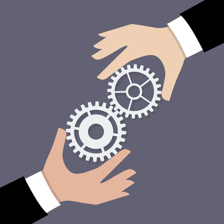 teamwork concept: Two businessman hands with gears. Business teamwork concept Illustration