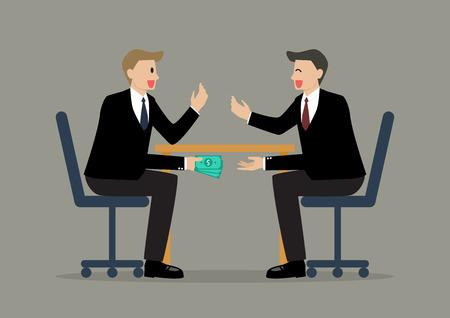 corrupcion: Dos hombres de negocios que pasan el dinero bajo la mesa. Concepto de corrupción empresarial Vectores
