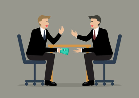 bribery: Two Businessmen Passing Money Under the Table. Business corruption concept