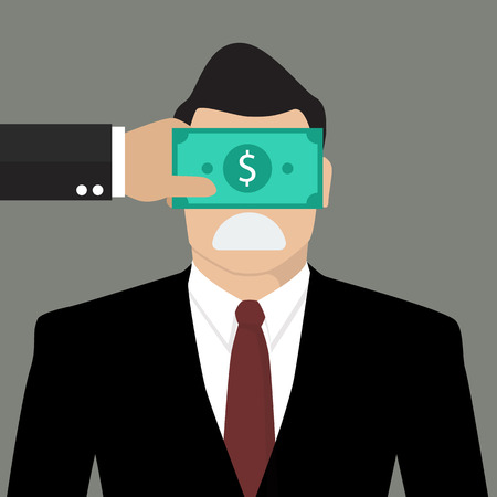blackmail: Businessman with dollar banknote taped to eyes. Bribery concept
