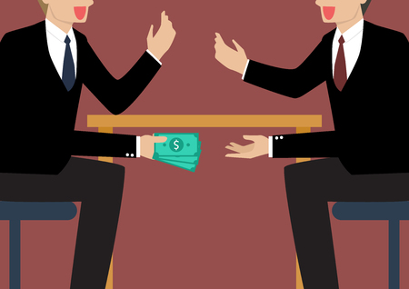 cash in hand: Businessmen Passing Money Under the Table. Business corruption concept
