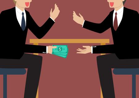 Gli uomini d'affari passa soldi sotto il tavolo. concetto di corruzione Affari