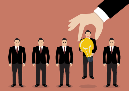 obrero trabajando: Mano que elige trabajador que tiene idea del grupo de empresarios. Concepto Reclutamiento Vectores