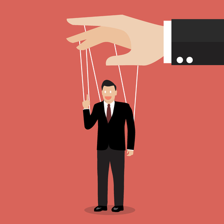 Businessman marionette on ropes. Business manipulate behind the scene concept 向量圖像