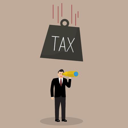 descuidado: Heavy tax falling to careless businessman. Business finance concept