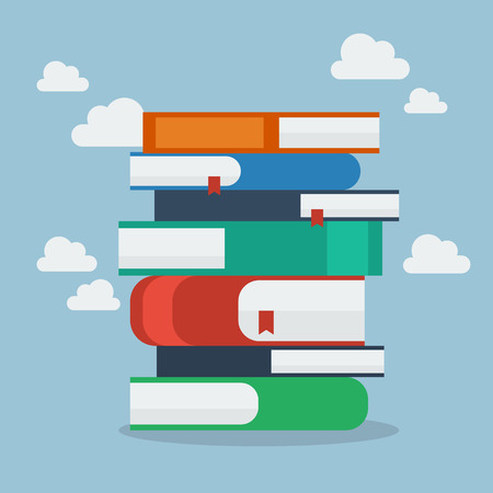 magazine stack: Stack of books. Flat Style Vector Illustration