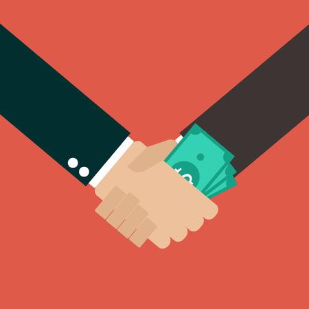 corruption: Business Corruption Handshake Illustration