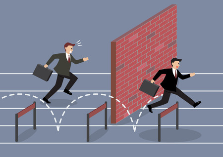 Businessman jumping over hurdle competition. Business concept