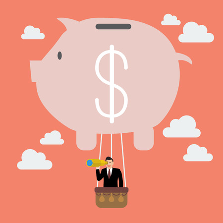 Businessman in piggy bank balloon search to success. Business concept Illustration