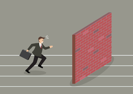 difficult situation: Businessman race to dead end. Business concept Illustration