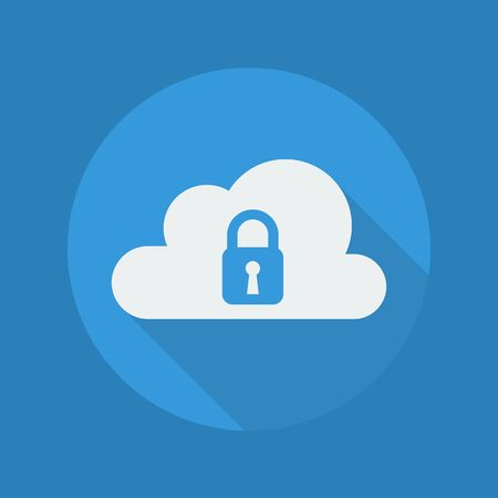 security icon: Cloud Computing Flat Icon With Long Shadow. Security