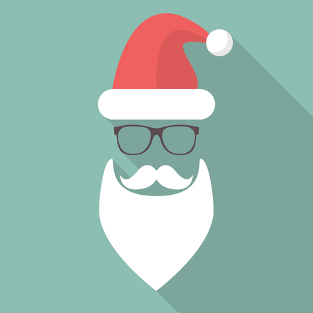 fashion glasses: Hat, Beard, Mustache and Glasses of Santa. Flat style with long shadow