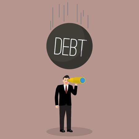 descuidado: Heavy debt falling to careless businessman. Business finance concept
