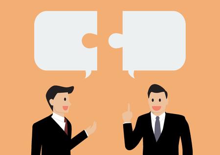 dialogo: Dos hombre de negocios en la conversación Vectores