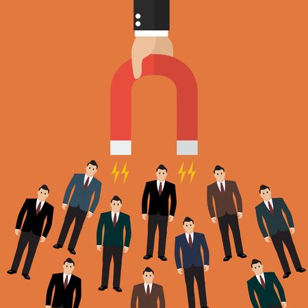 iman: Empresario la celebración de imán que atrae a los clientes y los clientes a los negocios. Concepto de negocio Vectores
