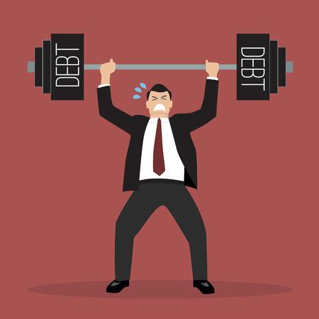 heavy weight: businessman lifting a heavy weight debt. Business concept