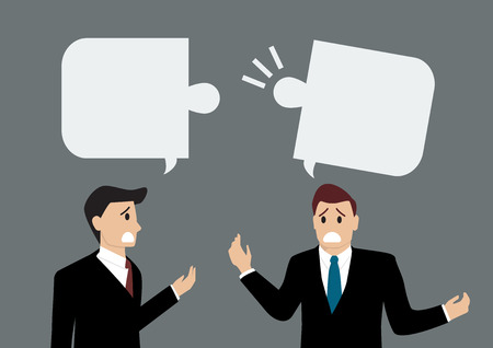 disagree: Two businessmen are talking differently. Business concept