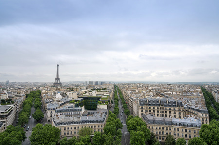 moody sky: Paris skyline view from the Arc de Triomphe in Paris, France Stock Photo