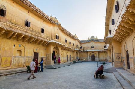 maharaja: Jaipur, India - December 30, 2014: Tourist visit Traditional architecture, Nahargarh Fort in Jaipur, Rajasthan, India.  Nahargarh Fort Built mainly in 1734 by Maharaja Sawai Jai Singh II, the founder of Jaipur.