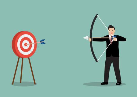Arrow hitting target. Business concept
