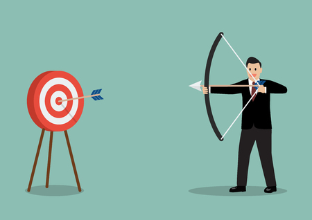 hitting: Arrow hitting target. Business concept