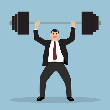 heavy weight: businessman lifting a heavy weight. Business concept