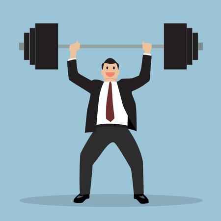 levantar peso: hombre de negocios levantar un peso pesado. Concepto de negocio