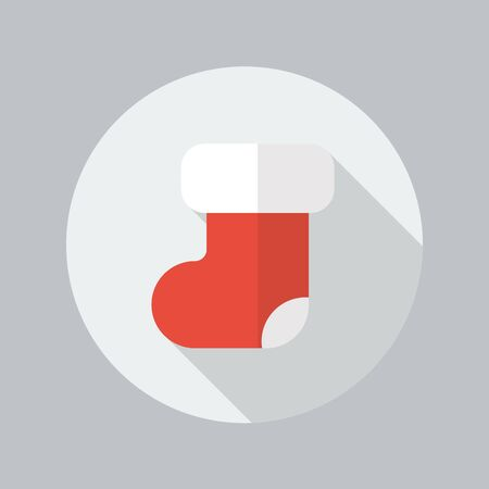 long socks: Christmas Stocking Flat Icon With Long Shadow Illustration