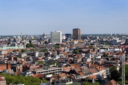 Luchtfoto van de stad Antwerpen, België. bekeken van Museum aan de Stroom