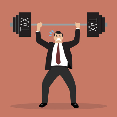 heavy weight: businessman lifting a heavy weight tax. Business concept