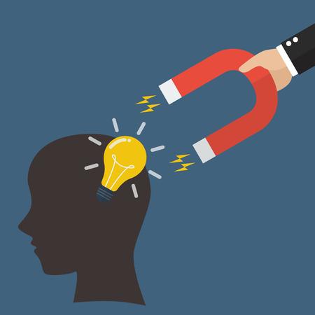 steal brain: Hand stealing idea light bulbs from head. Idea concept