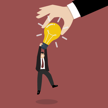 stealing: Hand stealing idea light bulb from businessman. Idea concept Illustration