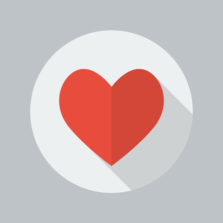 red love heart with flames: Heart Flat Icon With Long Shadow