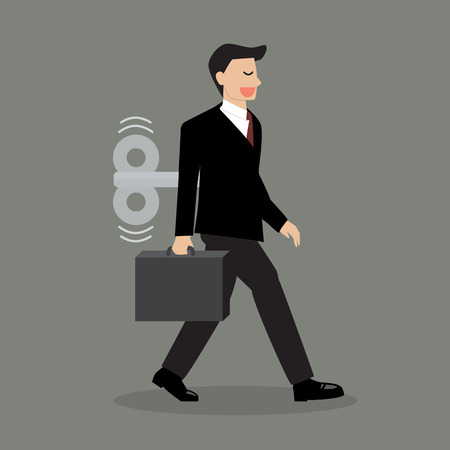 windup: Businessman with wind-up key in his back. Business concept