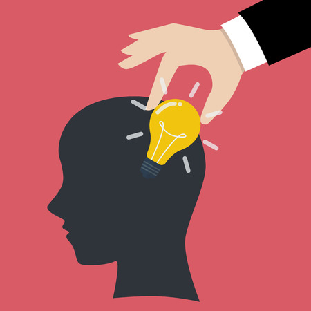 stealing: Hand stealing idea light bulb from head. Idea concept