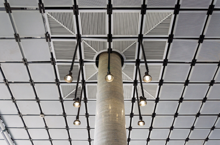 ceiling design: Modern suspended ceiling with lighting design Stock Photo