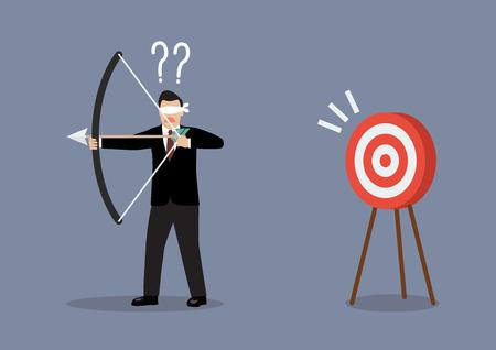 flecha direccion: Hombre de negocios con los ojos vendados buscar destino en dirección equivocada. Concepto de negocio