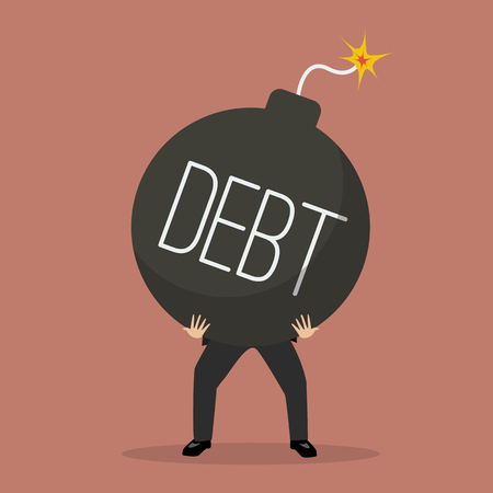 stress ball: businessman bearing debt bomb. Business crisis concept Illustration